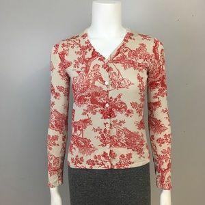 August Silk Petites 100% Silk Jacquard Cardigan